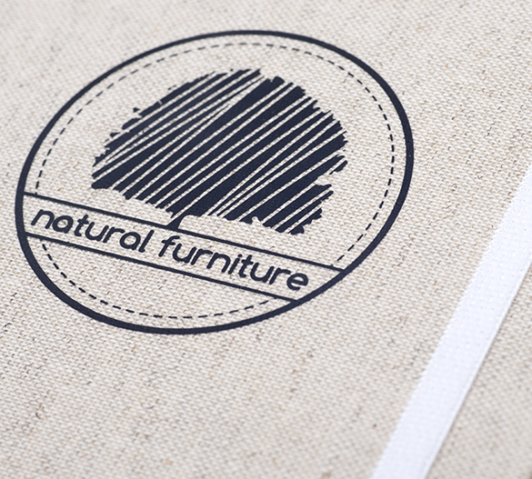 MN33 Mindnotes in Bookcover - Umschlag mit Textilien Lino color, Lino nature